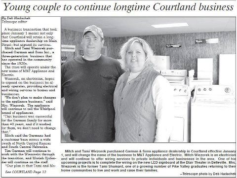 Long time Courtland business, Garman & Sons Appliance, sells to younger owners.