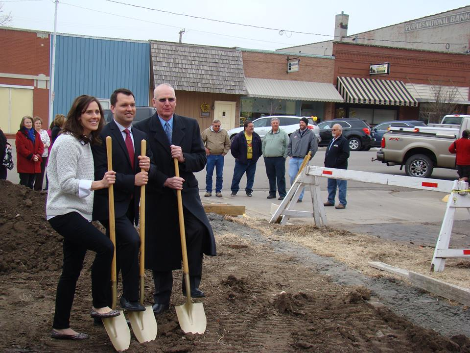 Exciting day in Downtown Belleville. Ground breaking for new Edward Jones building - Kaleb Brzon Financial Adviser. Pictured: Ashley & Kaleb Brzon & Jim Franey. Welcome to our newest Chamber & Main Street Member!