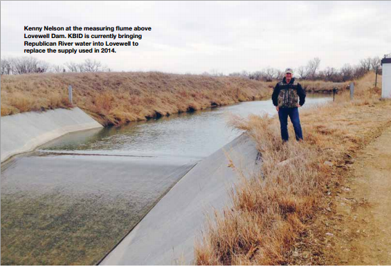 Kenny Nelson at the measuring flume above Lovewell Dam. KBID is currently bringing Republican River water into Lovewell