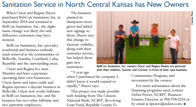Sanitation Service in North Central Kansas has New Owners