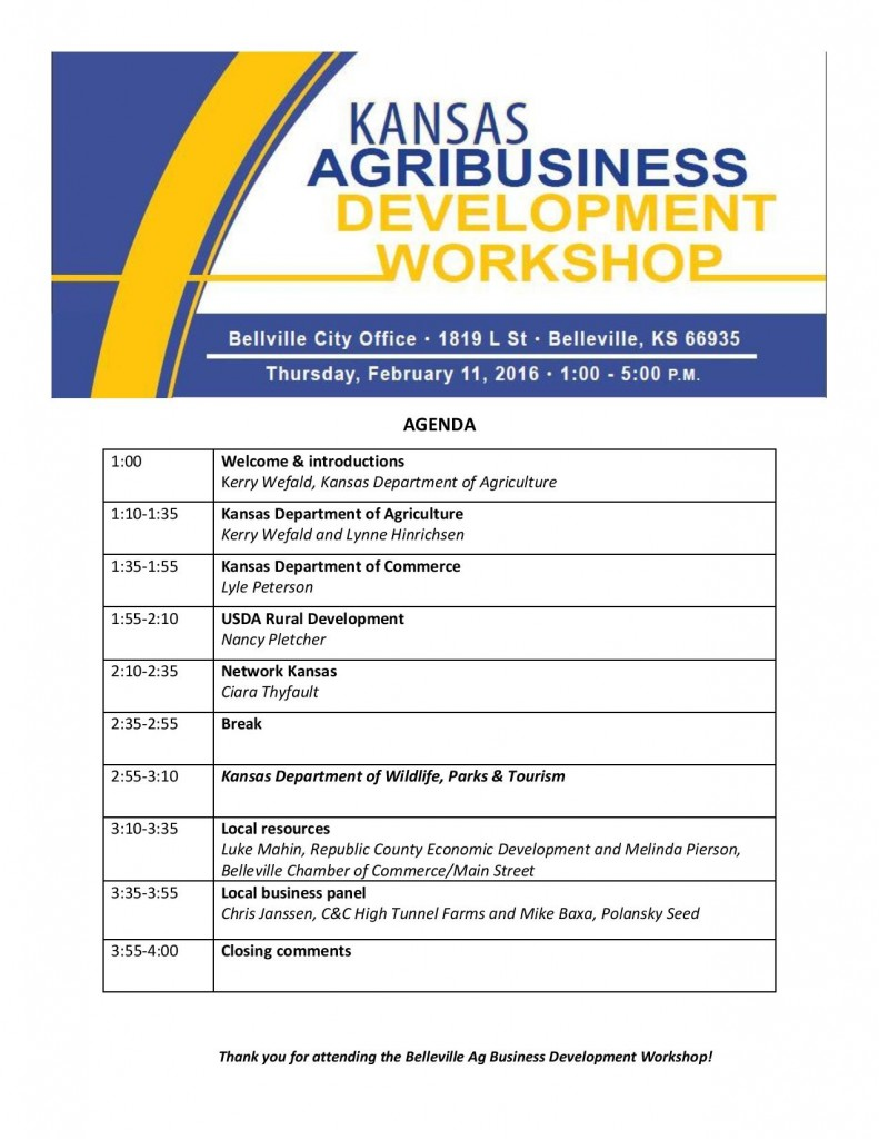 Belleville to host regional KDA Agribusiness Workshop.