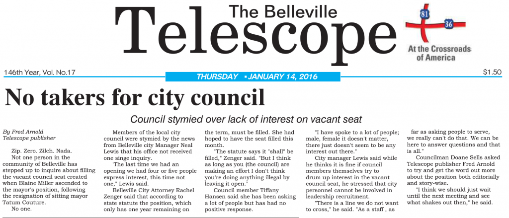 No takers for city council
