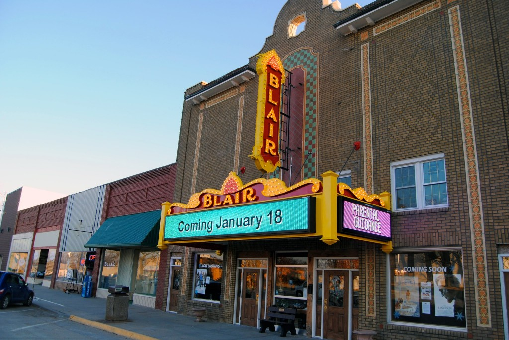 Restored Blair Theater sign by AppleOne Media in Belleville.