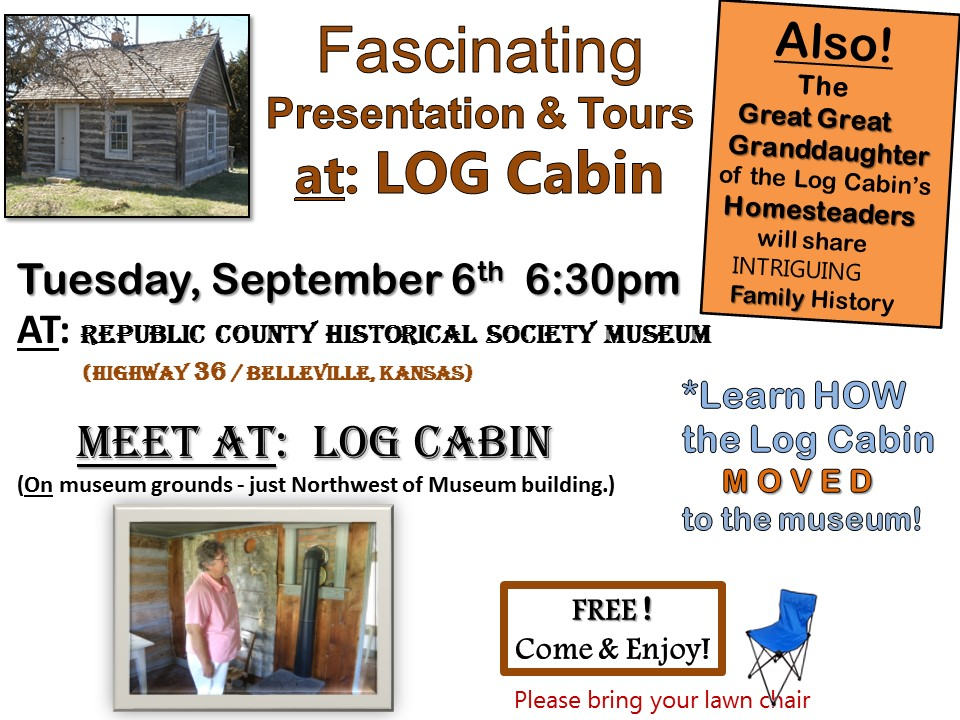 RP Co. Historical Society Museum: Log Cabin Presentation & Tours Sept. 6th