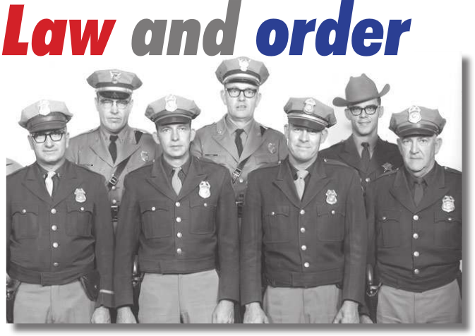 The law enforcement team in Republic County when Bob Blecha was elected sheriff in 1966 included front row: Undersheriff Joyce Johnson, Scandia, city police officers Keith Morehead, Walt Snyder, Martin Awalt, (man on right unidentified). Back row: state patrol officers Tommy Thomasson and Kenneth Cook and Blecha, who at 23 was the youngest sheriff in the nation when he was elected. For many years the sheriff's office and jail was a two man operation, and Belleville city operated the 24 hour dispatch service. --Photo courtesy Bob Blecha