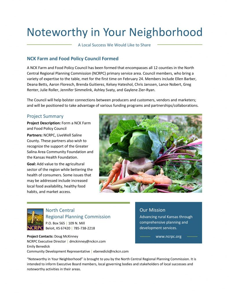 NCK Farm and Food Policy Council Formed