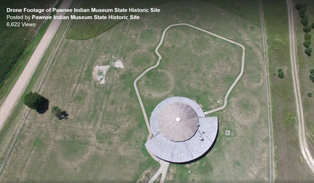 Aerial view of Pawnee Indian Museum State Historic Site